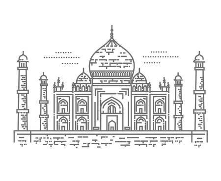 Outline Illustration of Taj Mahal Icon