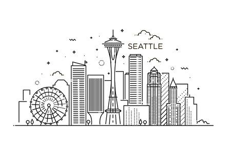 フラット線トレンディなスタイルでシアトル市のバナーです。シアトル市ライン アート。  イラスト・ベクター素材