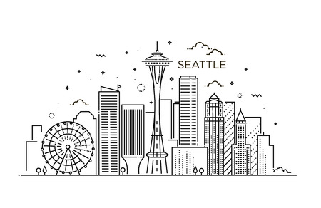 Banner of Seattle city in flat line trendy style. Seattle city line art. Ilustração