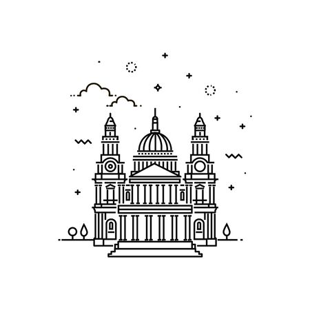 Vector Illustration of St Pauls Cathedral Icon Outline Illustration