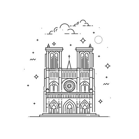 Notre Dame De Paris illustration made in outline style. World famous landmarks collection.