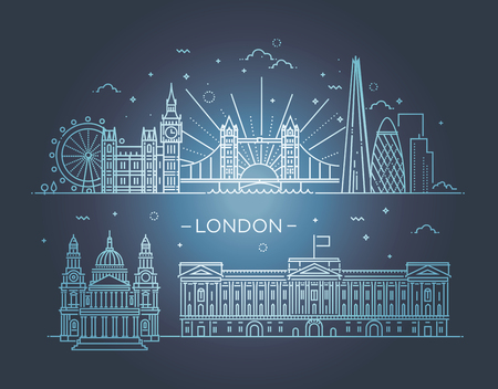 london tower bridge: Minimal London city Linear Skyline. Line art