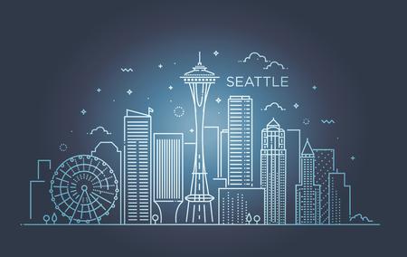 最小限のシアトル市線形スカイライン。細いスタイル。  イラスト・ベクター素材