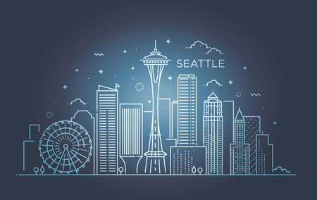 Minimal Seattle City Linear Skyline. Thin style.