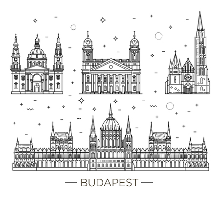 헝가리 여행 역사적 건물의 랜드 마크 얇은 라인 아이콘을 설정합니다. 일러스트