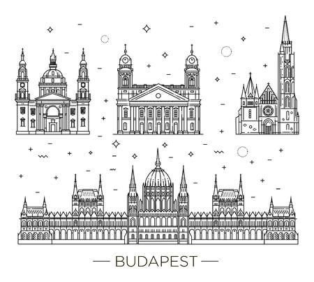 Point de repère de voyage hongrois de jeu d'icônes de fine ligne de bâtiments historiques. Banque d'images - 85812212