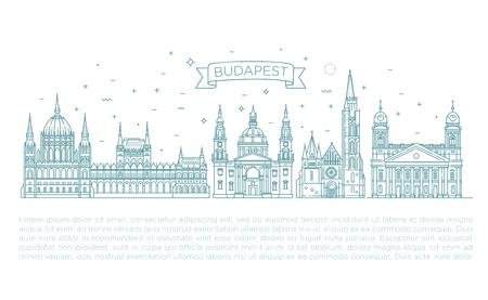 歴史的建造物の細い線のアイコン セットのハンガリー旅行のランドマーク 写真素材