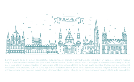 Hungarian travel landmark of historical buildings thin line icon set Banco de Imagens