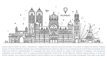 Mumbai detailed skyline. Travel and tourism background. Vector background. line illustration. Line art style Illustration