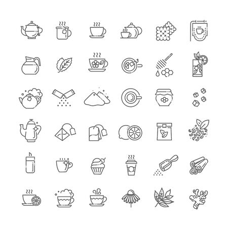 Tea icon set. Thin line vector illustration Çizim