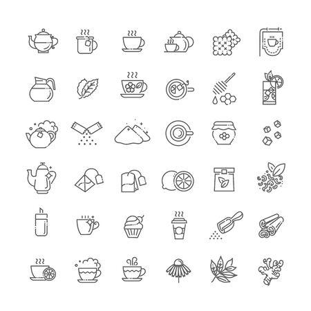 Zestaw ikon herbaty. Ilustracja wektorowa cienka linia