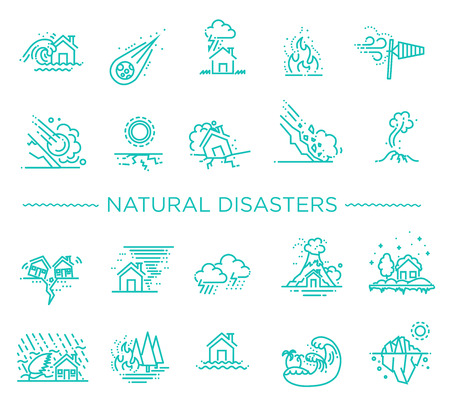 line icons for Natural Disaster Contains such Icons as earth quake, flood, tsunami Illustration