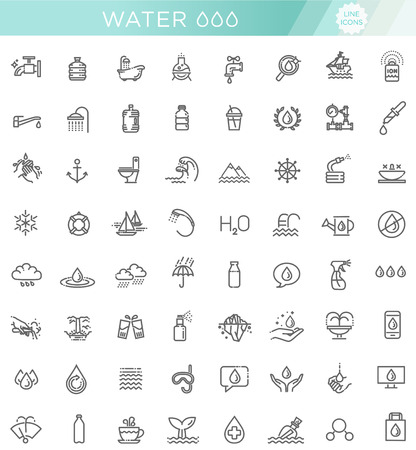 Water icon set in thin line style. Vector symbol. Vectores