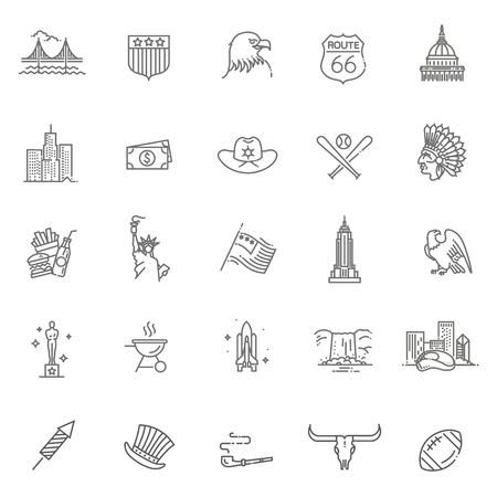 Amerikanische Kulturikonen, Kulturzeichen der USA Standard-Bild - 91203645