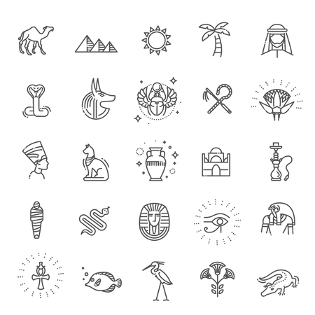Egypt icons and design elements isolated. Stock Photo
