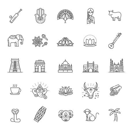 Outline black icons set in thin modern design style, flat line stroke vector symbols - India collection Ilustração