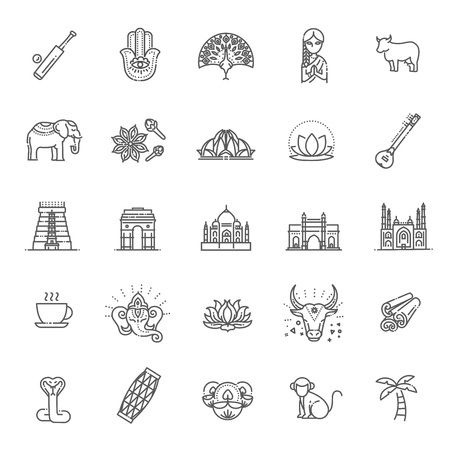Outline black icons set in thin modern design style, flat line stroke vector symbols - India collection Illustration
