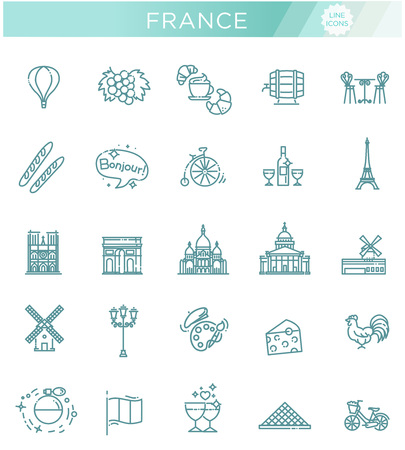 Set vector line icons in flat design France Stock Vector - 93020830