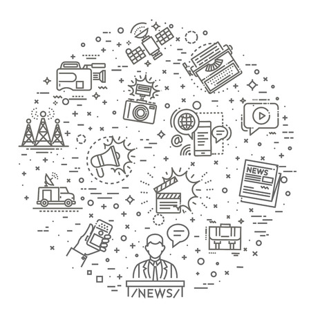 Set of modern vector plain line design mass media icons and pictograms