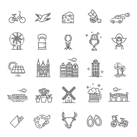 Dutch Culture Icons, Culture Signs of Holland, Traditions of Netherlands, Dutch Life, National Objects of Holland Stock Illustratie