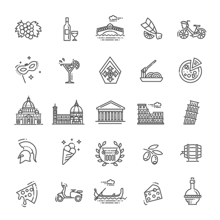 Italy icons set. Tourism and attractions, thin line design. Vettoriali