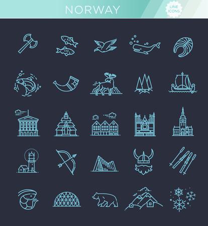 City sights vector icons. Norway landmark. Ilustrace