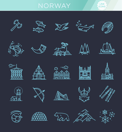 City sights vector icons. Norway landmark. Illustration