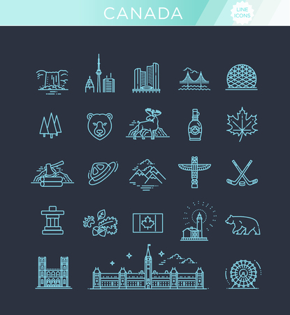 Country Canada travel vacation guide of goods, place and feature Illustration