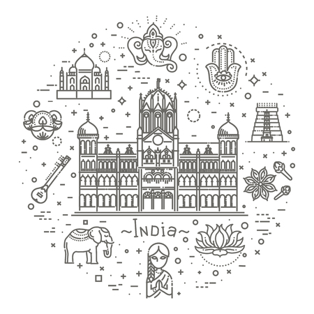 India icons set. Indian attractions, line design. Tourism in India, isolated vector illustration. Traditional symbols.  イラスト・ベクター素材