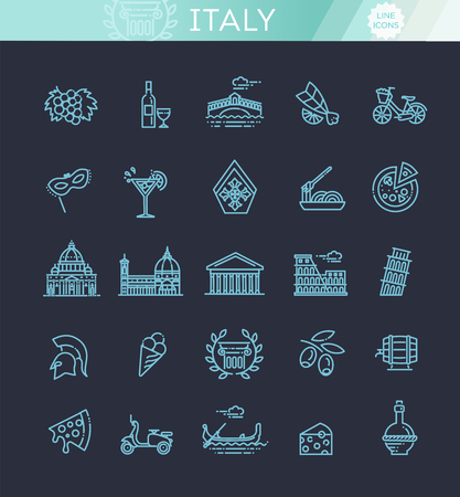 Italy icons set. Tourism and attractions, thin line design. Çizim