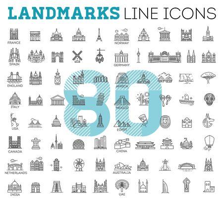 Conjunto de ícones lineares vetoriais simples representando pontos turísticos globais e destinos de viagem para férias