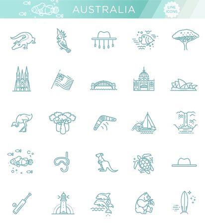 Graphic vector set. Australian culture, animals, traditions. Sign, element, emblem, symbol. Illustration