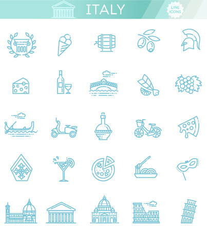 Italy icons set. Tourism and attractions, thin line design. Иллюстрация