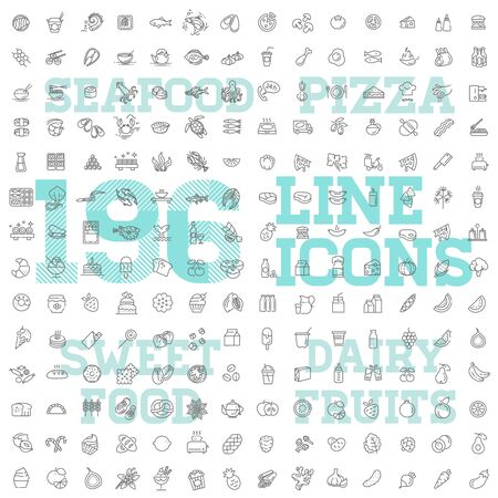196 food and drink thin vector icon set