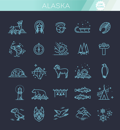 Thin line Arctic icons set
