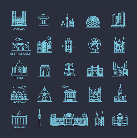 Simple linear Vector icon set representing global tourist landmarks and travel destinations for vacations Stock Photo