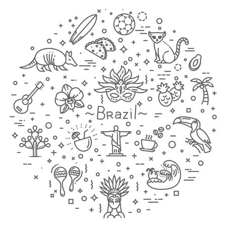 Brazil Flat design icon set.