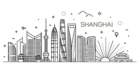 Shanghai architecture line skyline illustration. Linear vector cityscape with famous landmarks