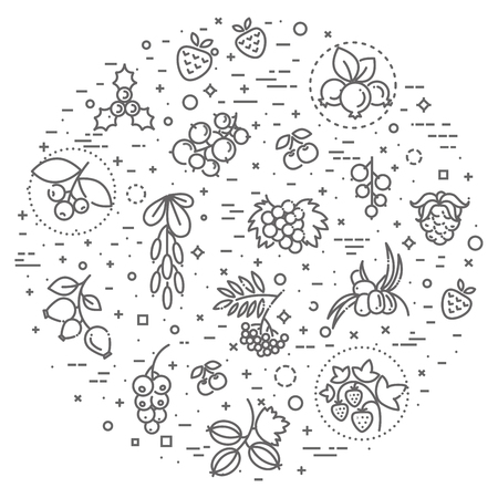 Berries icon set in circular form Illustration