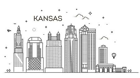 Minimal Kansas Linear City Skyline with Typographic Design.