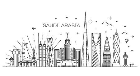 Saudi Arabia detailed Skyline. Travel and tourism background Stock Illustratie
