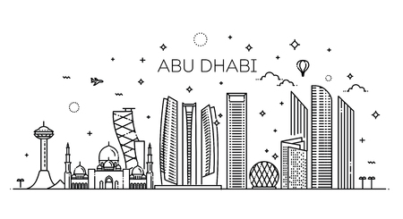 Abu Dhabi city line art Vector illustration with all famous buildings. Cityscape.