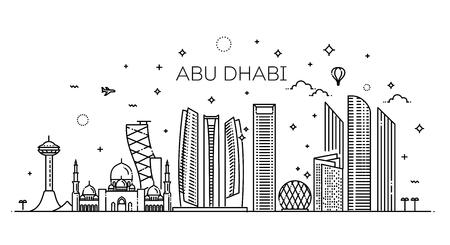 Arte de línea de la ciudad de Abu Dhabi Ilustración de vector con todos los edificios famosos. Paisaje urbano Ilustración de vector