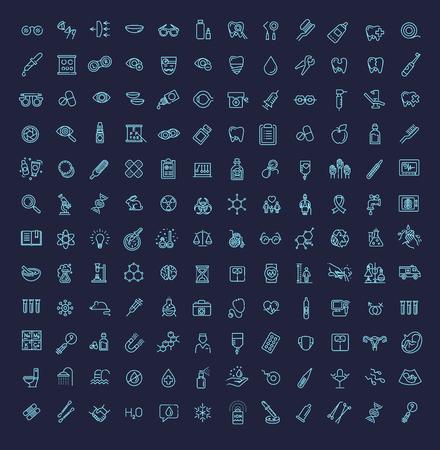 Line medicine consepts, Icons set 版權商用圖片