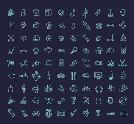 Outline web icon set sport and fitness. 向量圖像