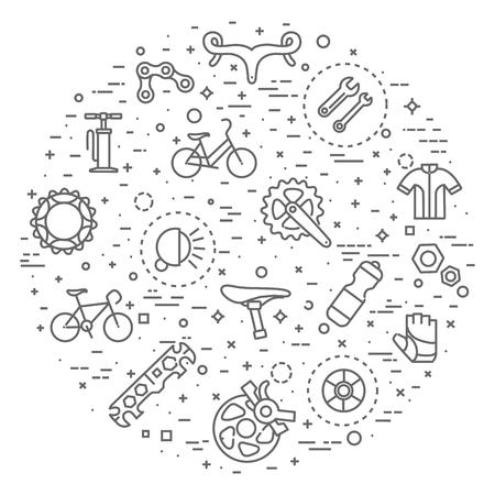 Flat line Bicycle icons 向量圖像