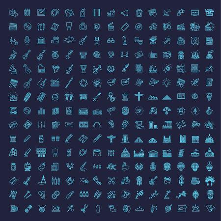 Line Arts Icons set. 225 linear icons 向量圖像