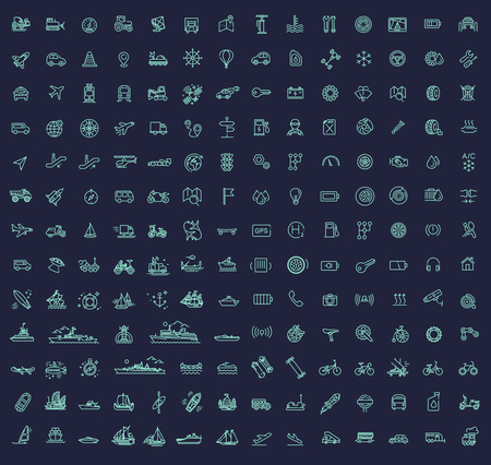 178 Transport icons, thin line design 向量圖像