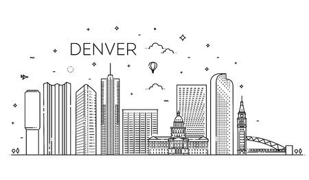 Colorado, Denver. City skyline. Architecture, buildings, landscape, panorama, landmarks, icons 向量圖像