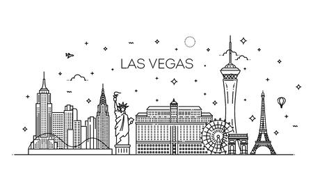 Las Vegas skyline met panorama op witte achtergrond